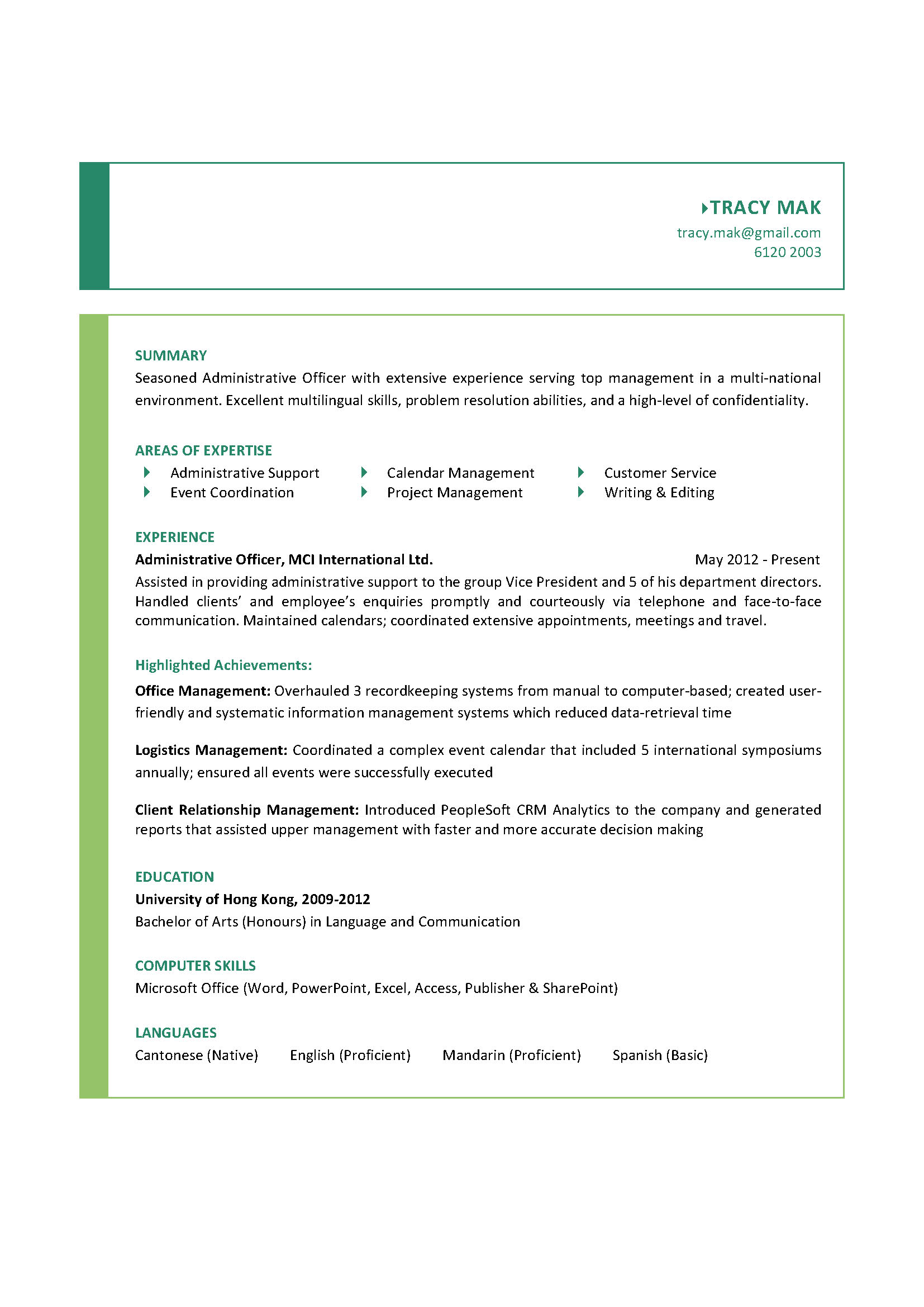 administrative officer cv - Computer Administration Sample Resume