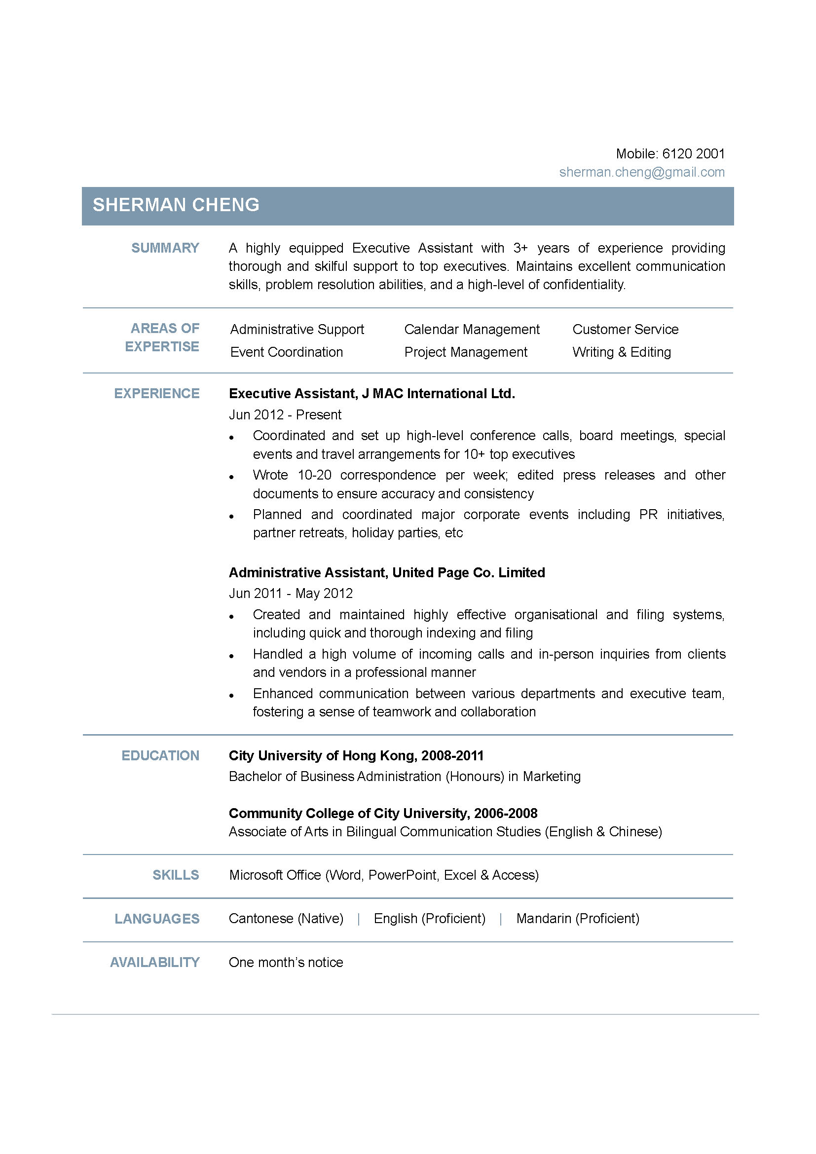 executive assistant cv powered by career times executive assistant cv
