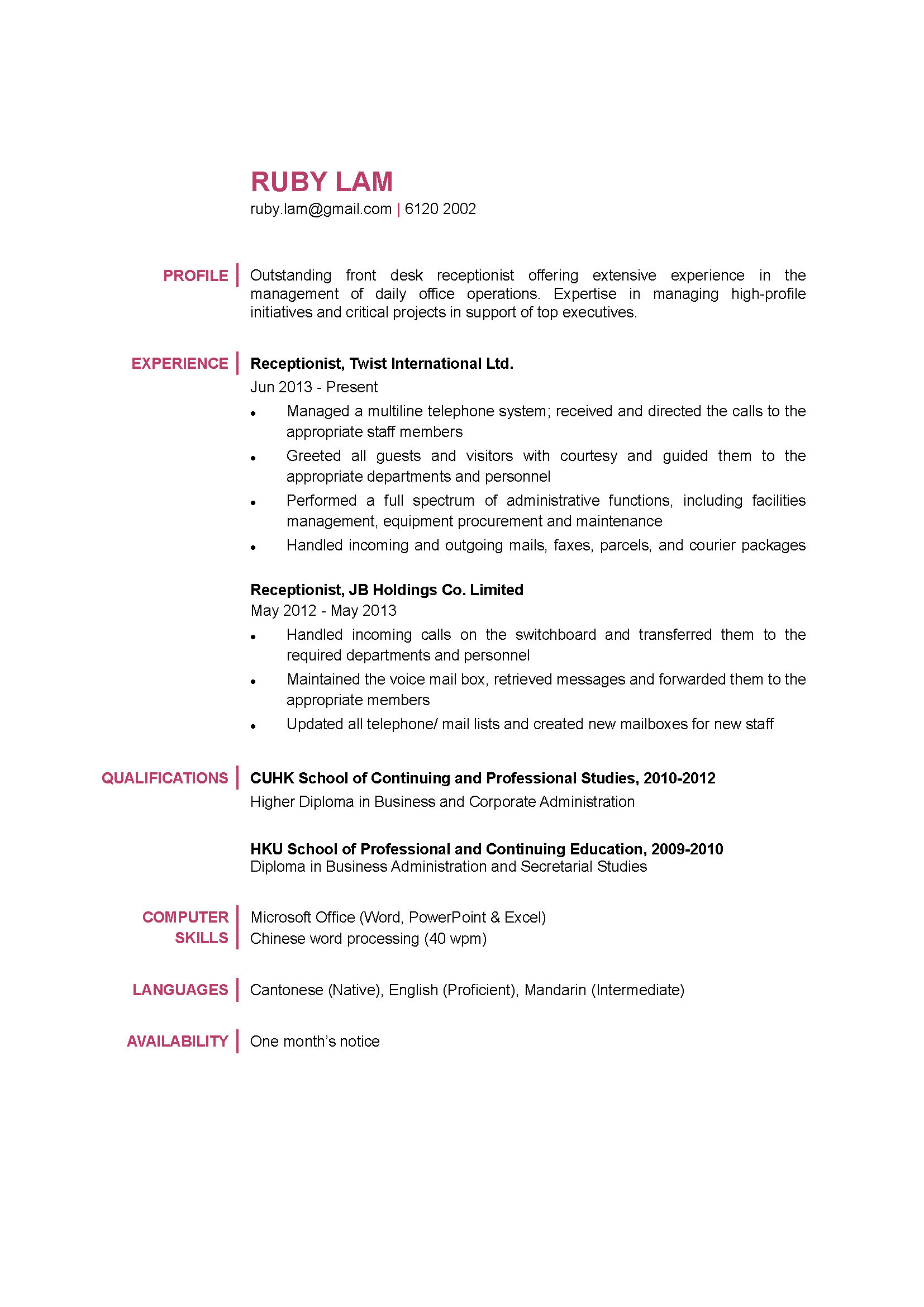 Receptionist CV  Resume For Receptionist