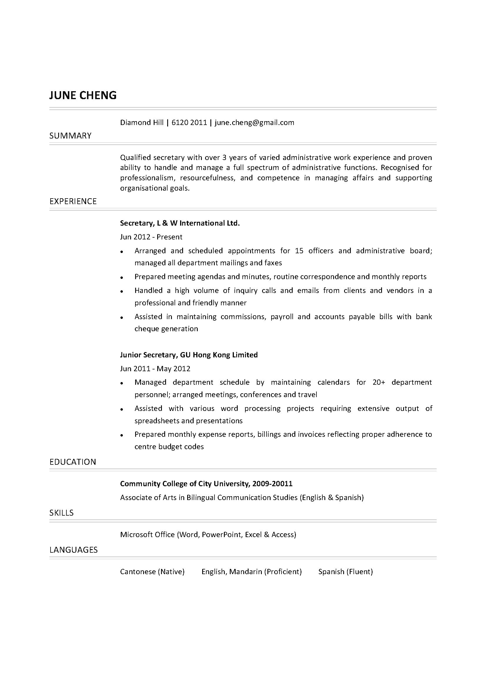 secretary cv ctgoodjobs powered by career times secretary cv