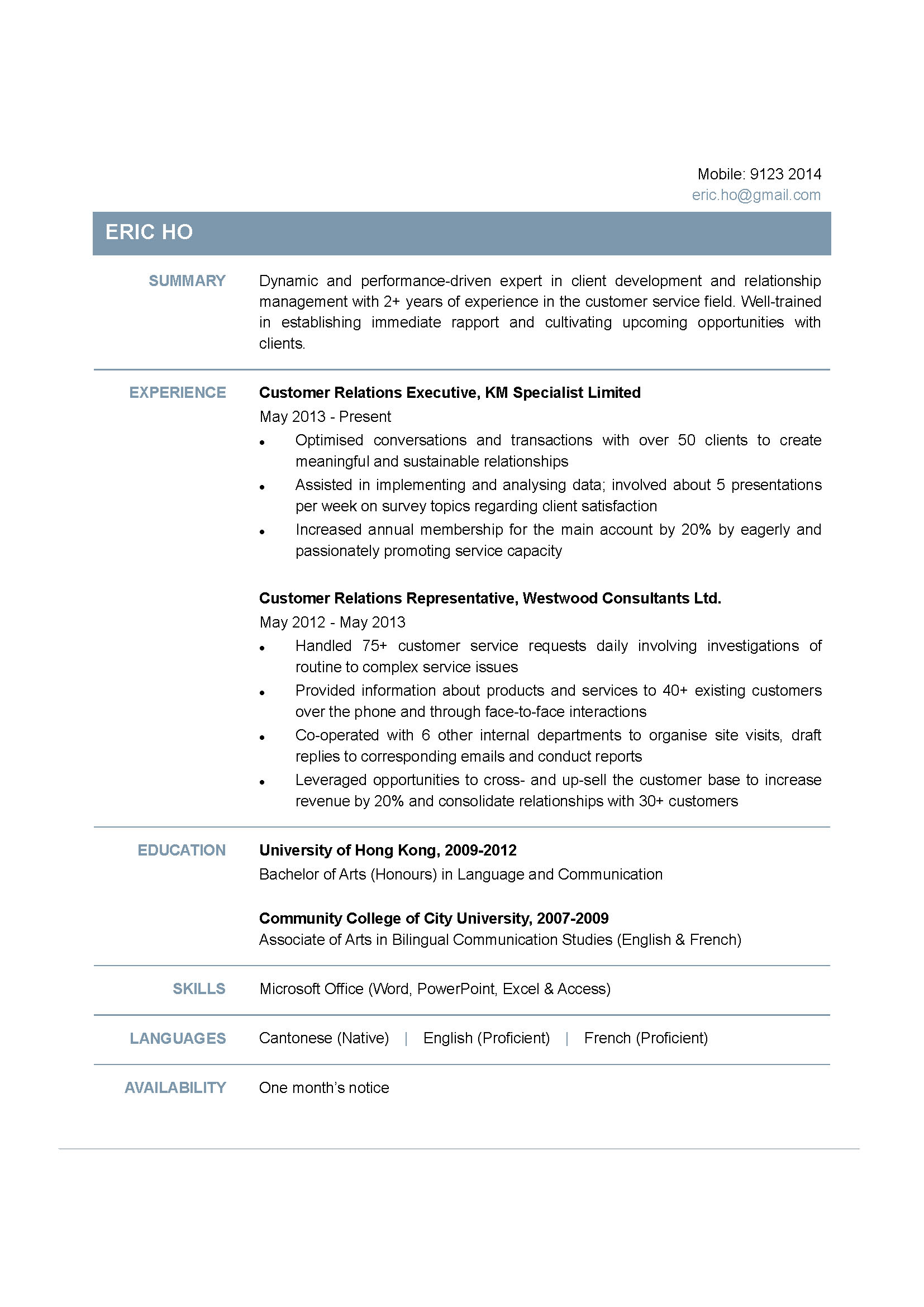 customer relations executive cv