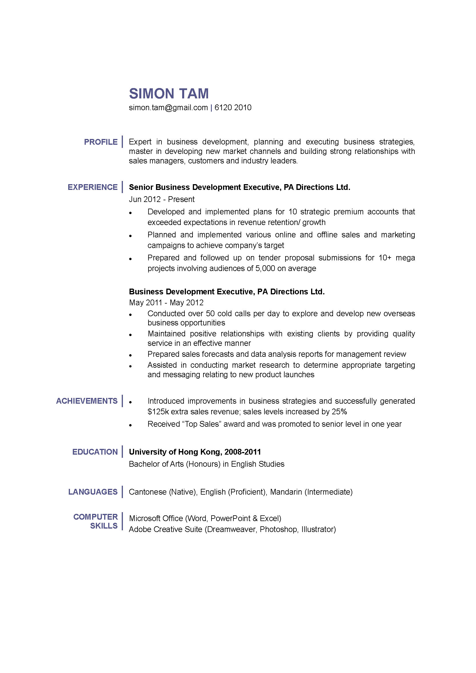 business development executive cv ctgoodjobs powered by career times