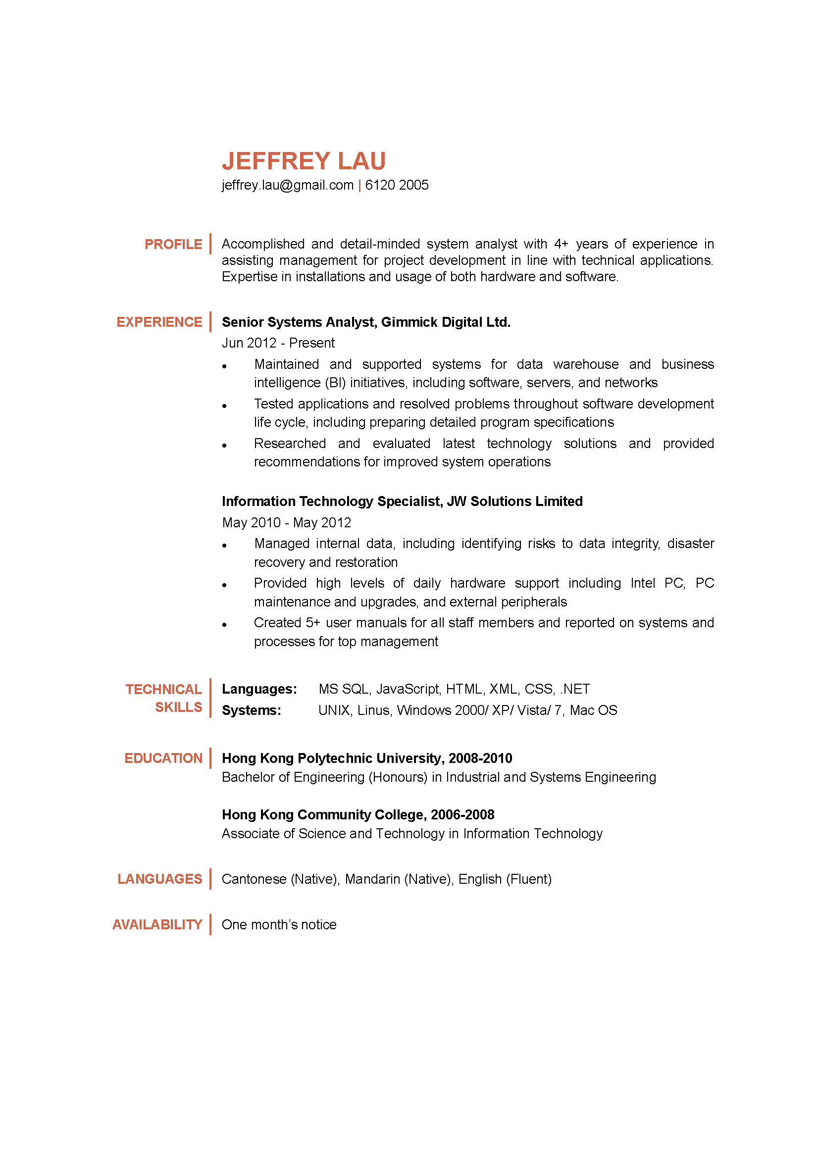 systems analyst cv ctgoodjobs powered by career times
