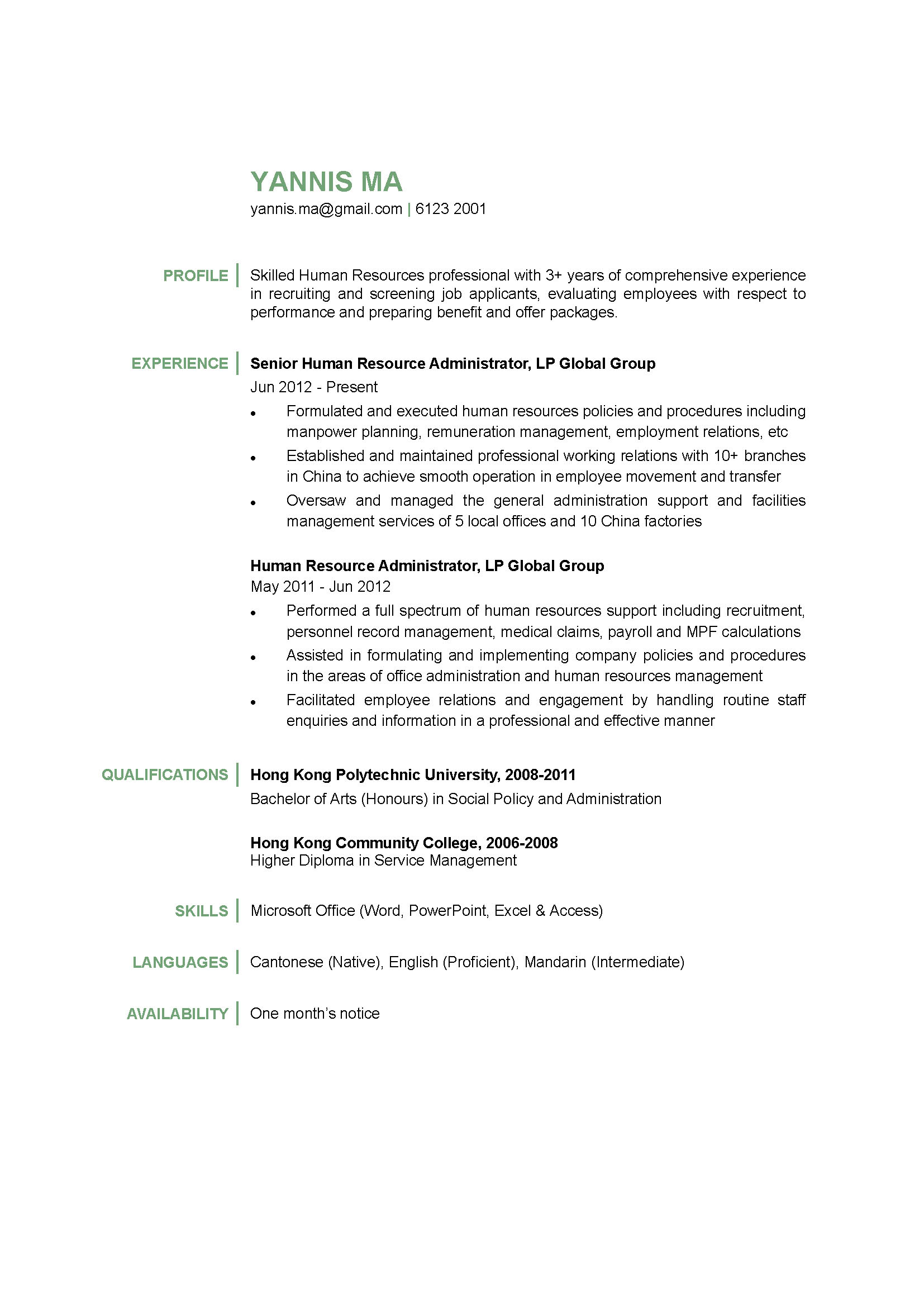 Human Resources Administrator CV
