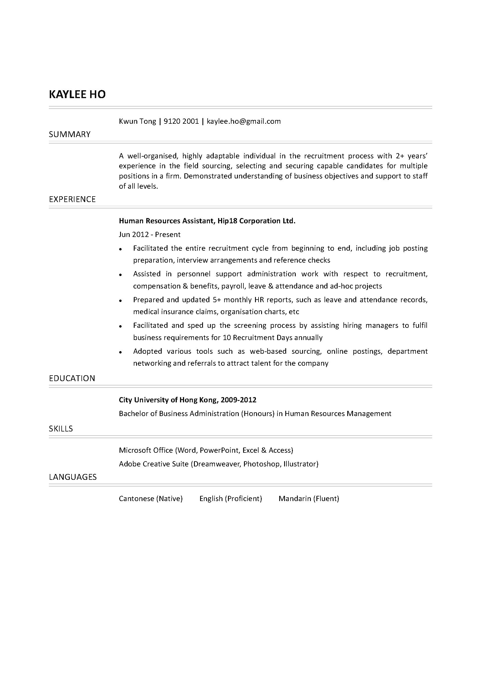 Human Resources Assistant CV