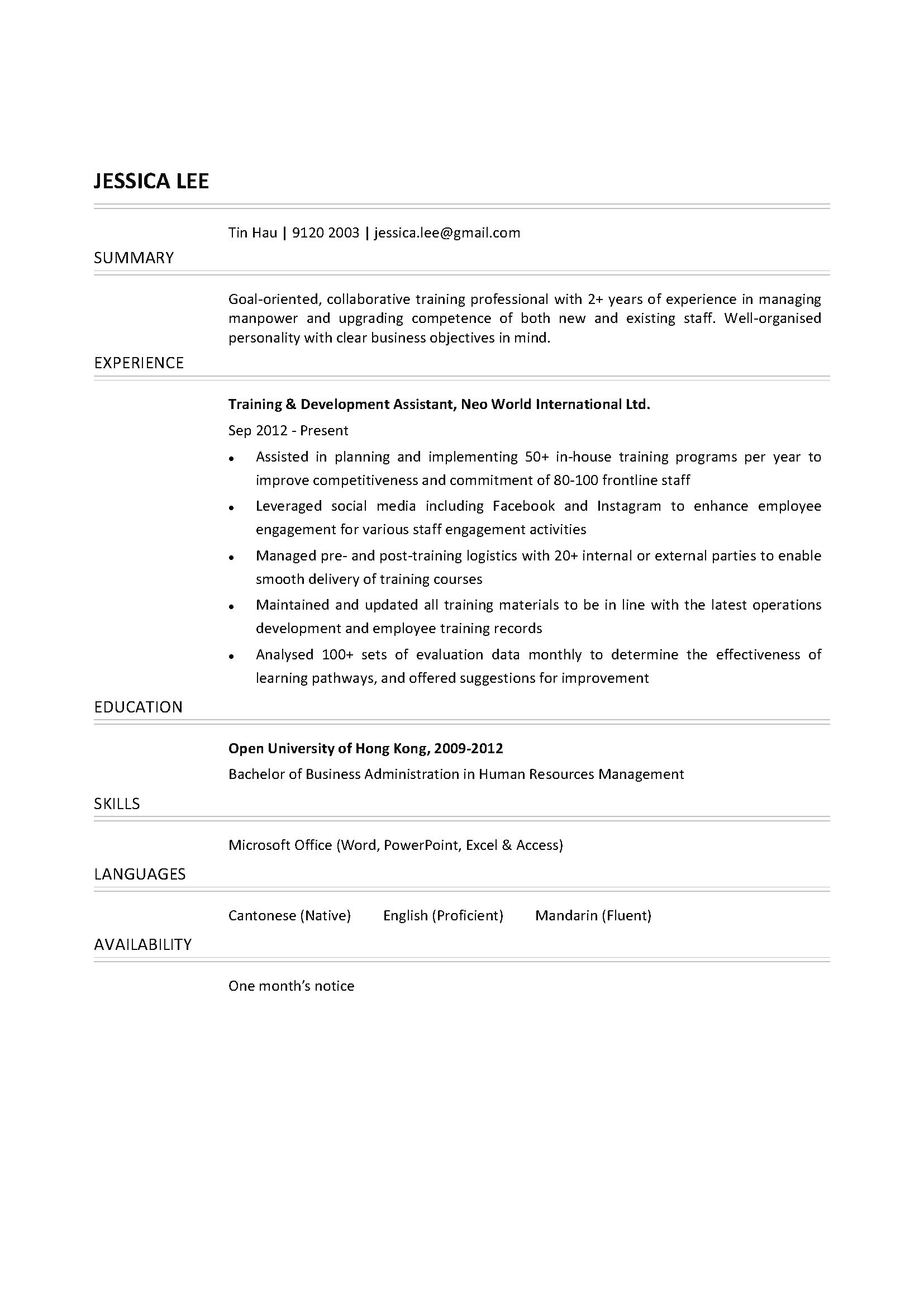 training  u0026 development assistant cv