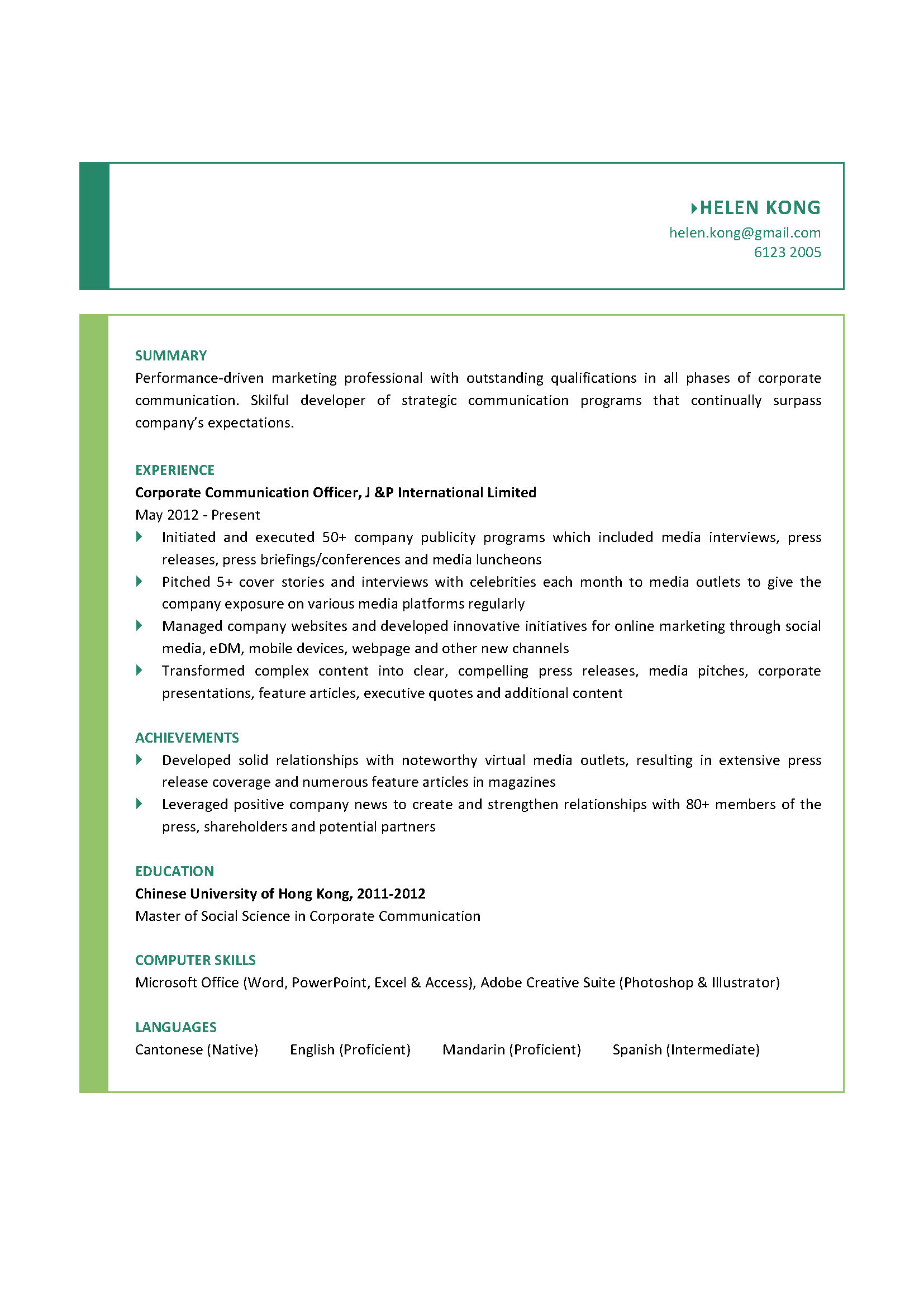 corporate communication officer cv