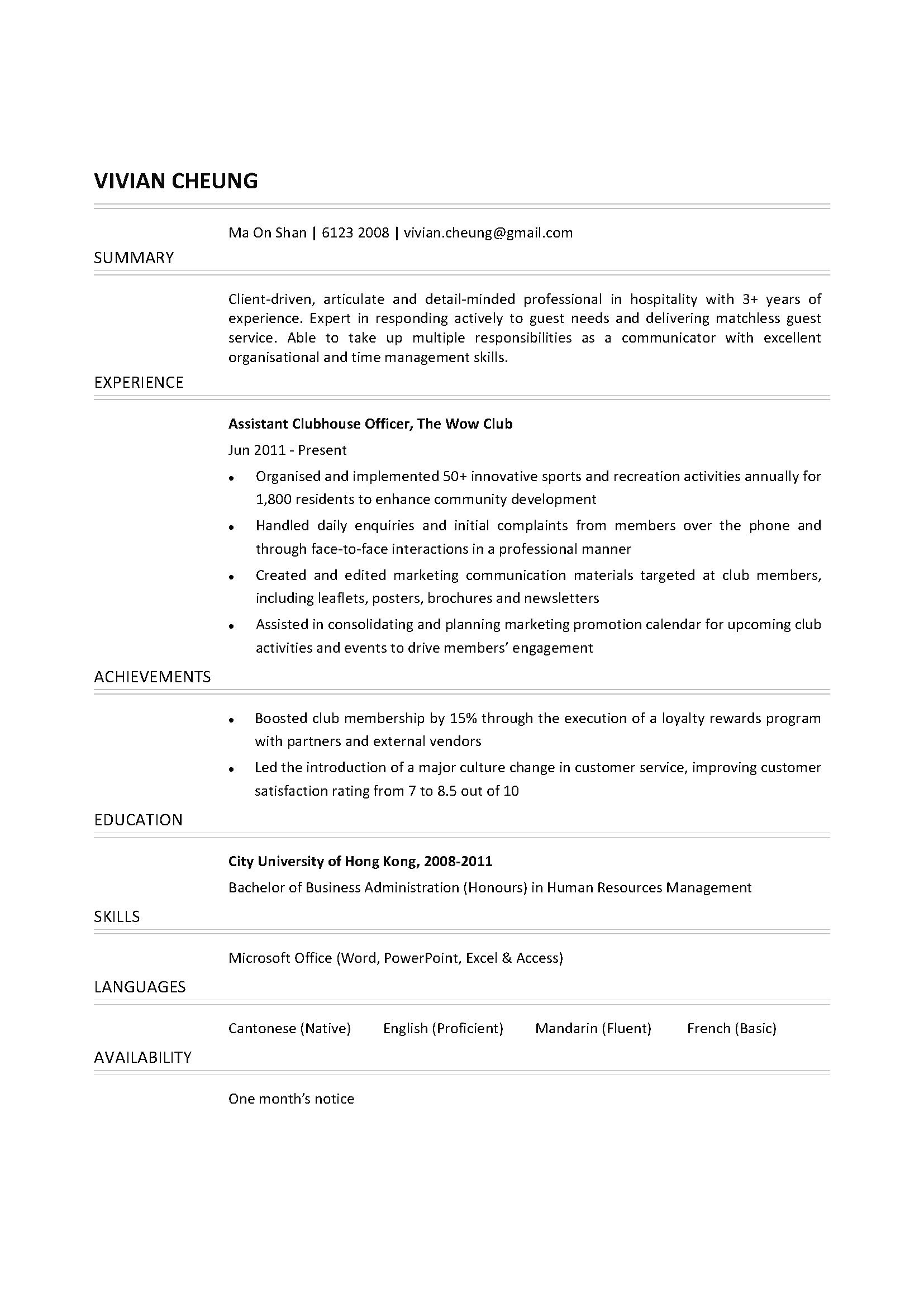 assistant clubhouse officer cv