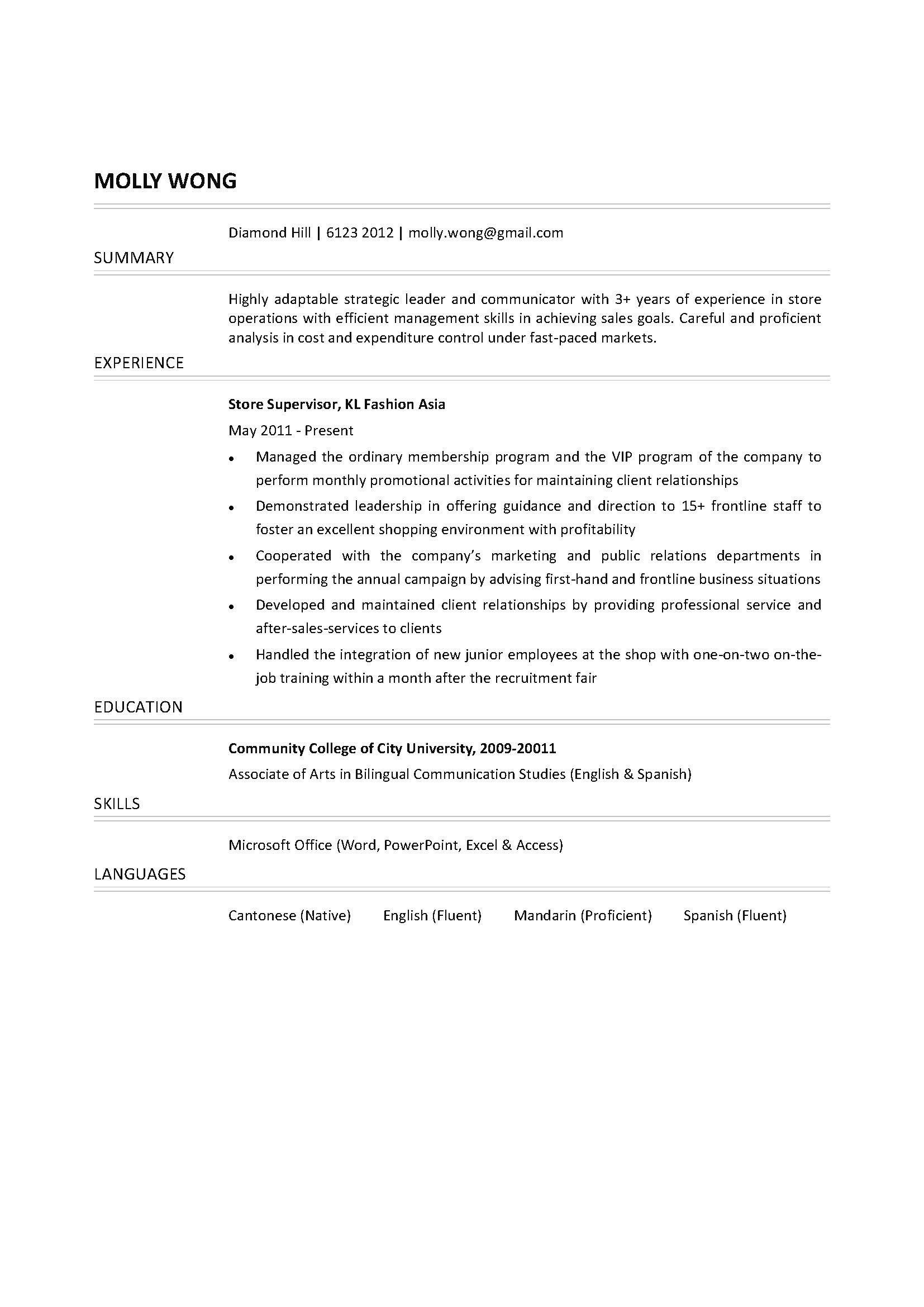 cv shop assistant customer assistant resumes template job – Sales Supervisor Resume