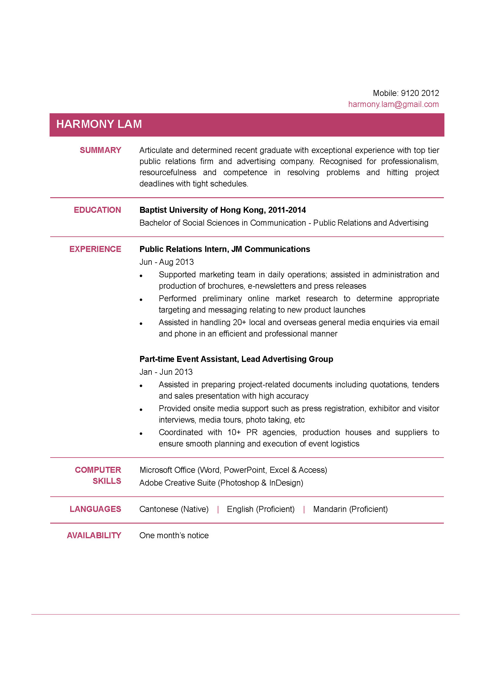 communication graduate cv