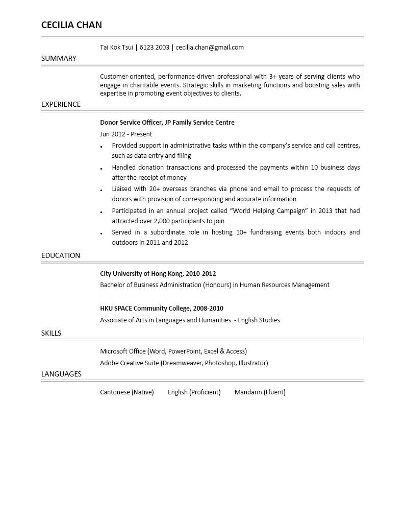 Donor Service Officer Cv Ctgoodjobs Powered By Career Times