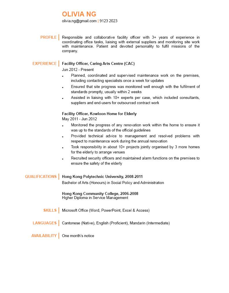 Facility Officer CV