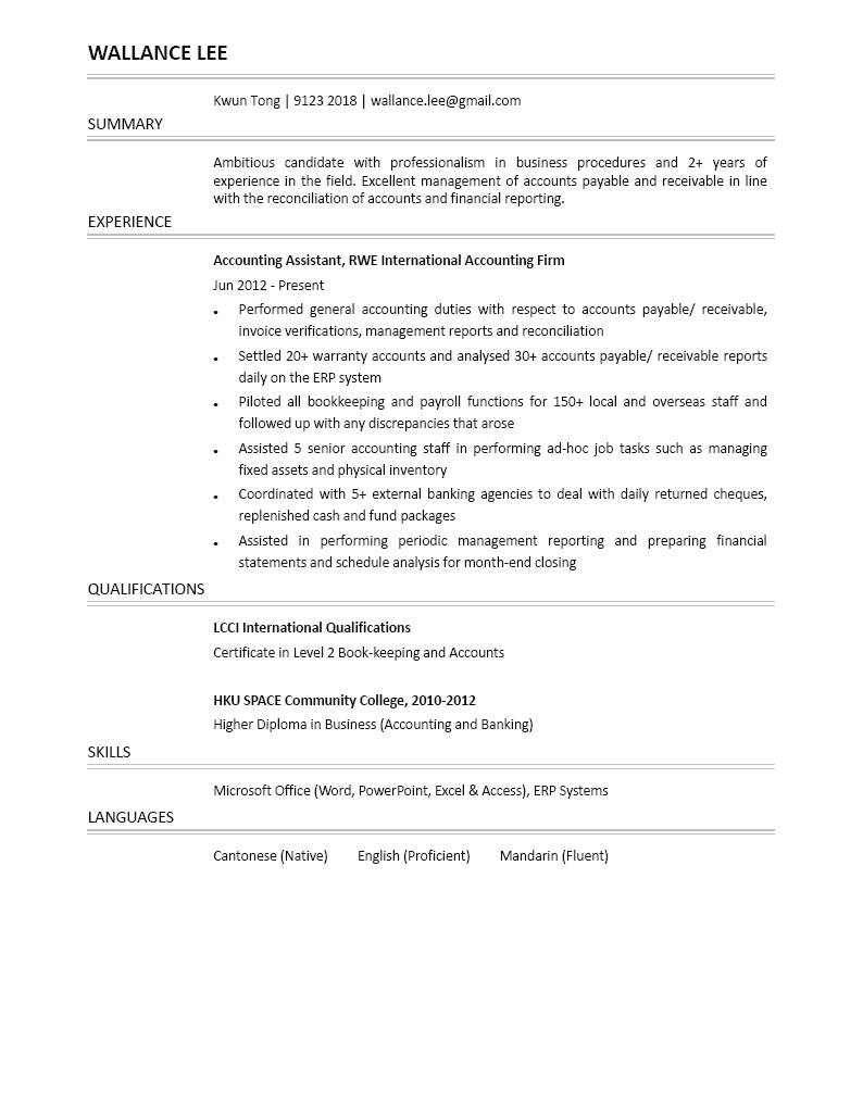 Accounting Assistant CV - CTgoodjobs powered by Career Times