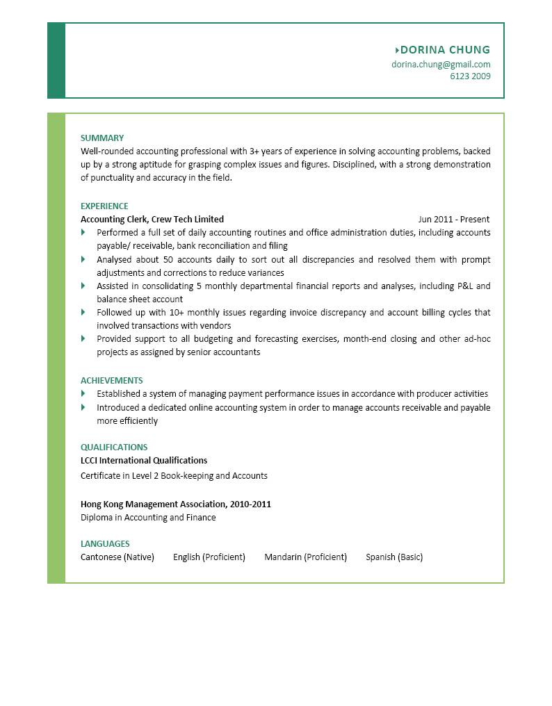 Accounting Clerk CV - CTgoodjobs powered by Career Times