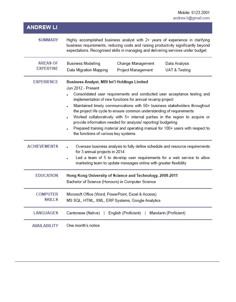 business analyst cv powered by career times business analyst cv