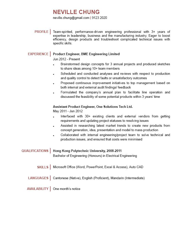 Product Engineer CV