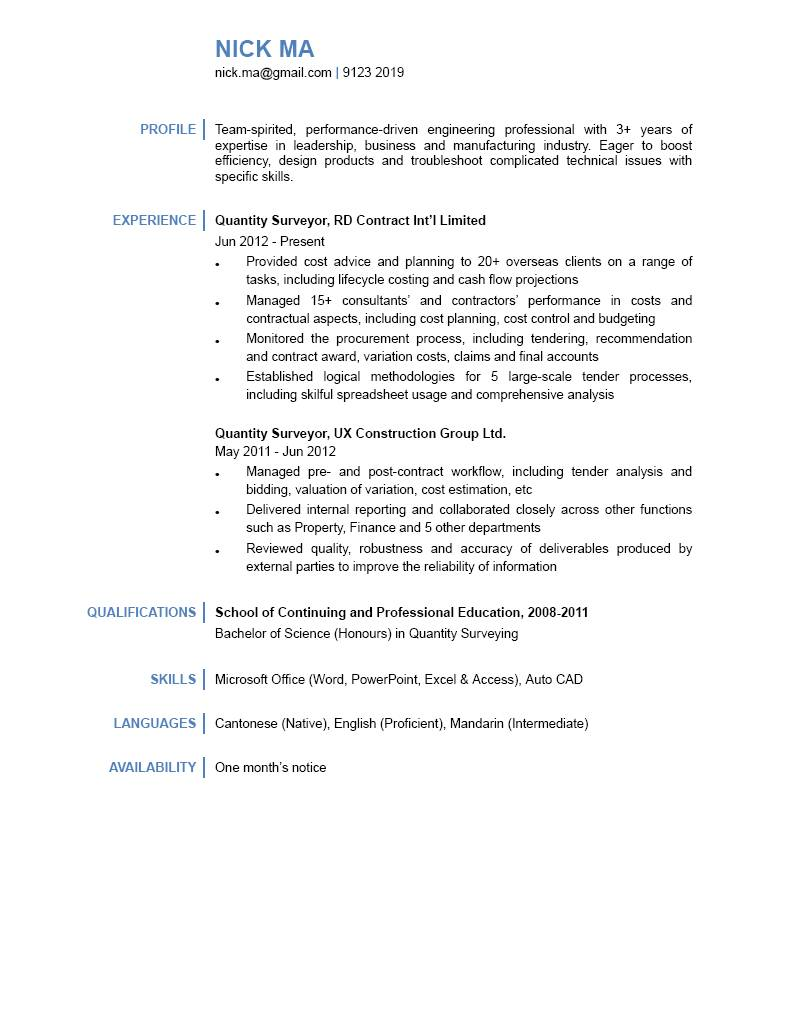 Quantity Surveyor CV