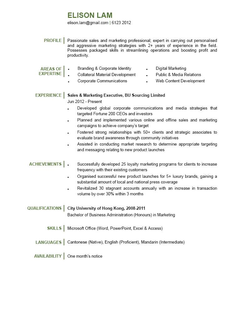 resume for sales and marketing executive - Acur.lunamedia.co