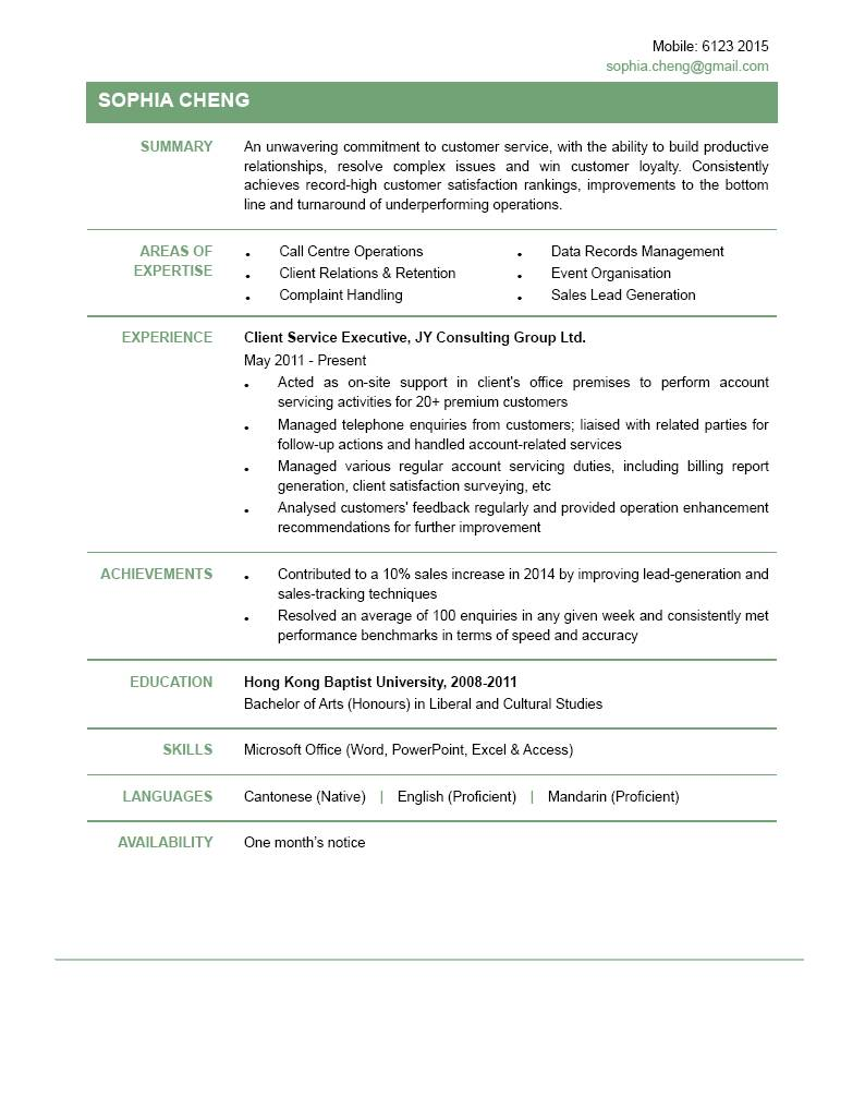 client service executive cv ctgoodjobs powered by career times