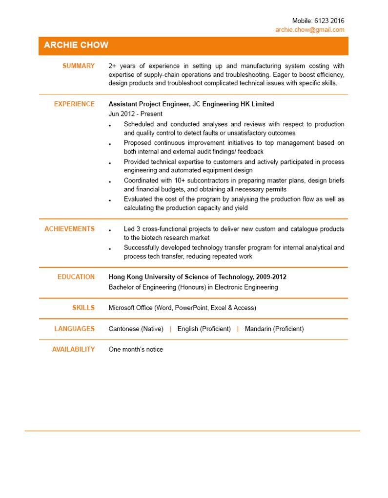 assistant project engineer cv ctgoodjobs powered by career times assistant project engineer cv