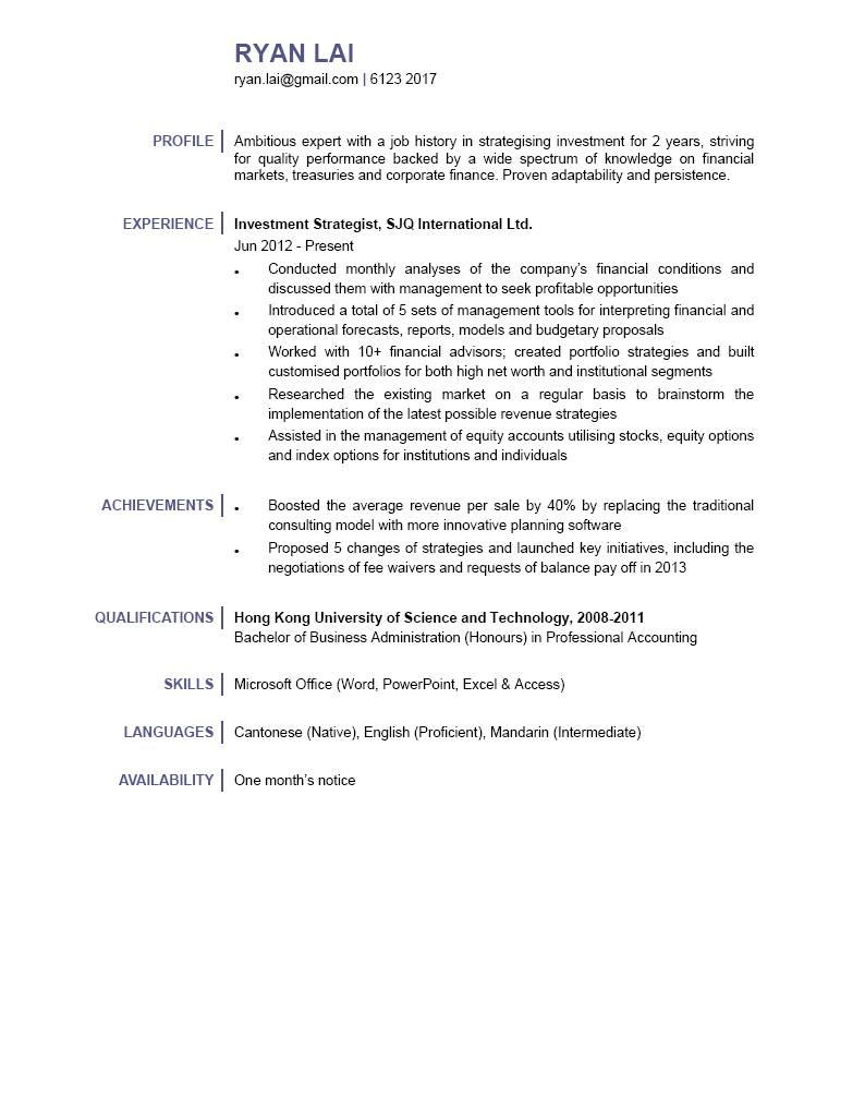 Investment Strategist CV - CTgoodjobs powered by Career Times