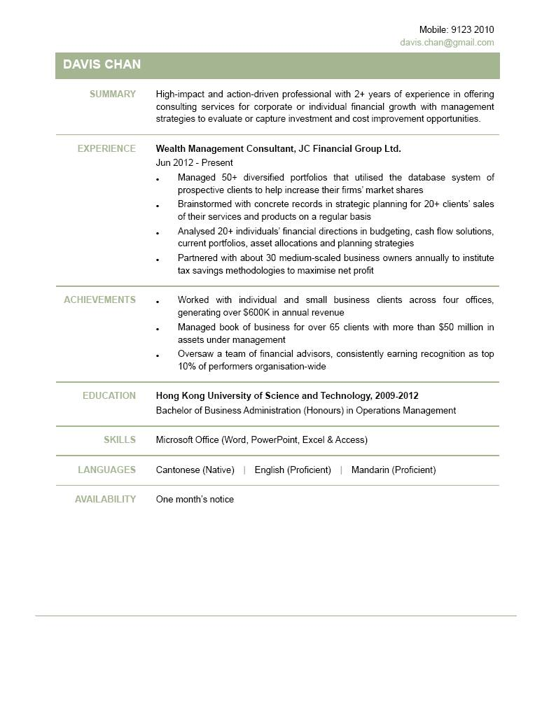 Wealth Management Consultant CV  Resume For Consulting