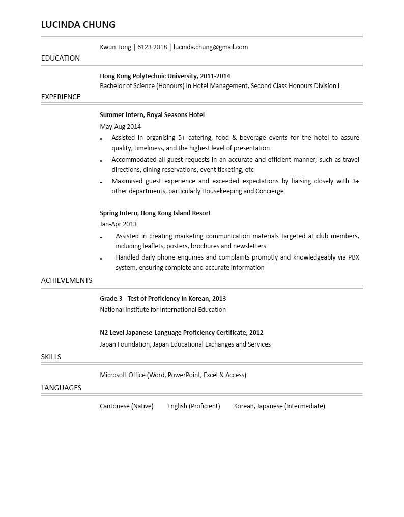 hotel management graduate cv ctgoodjobs powered by career times hotel management graduate cv