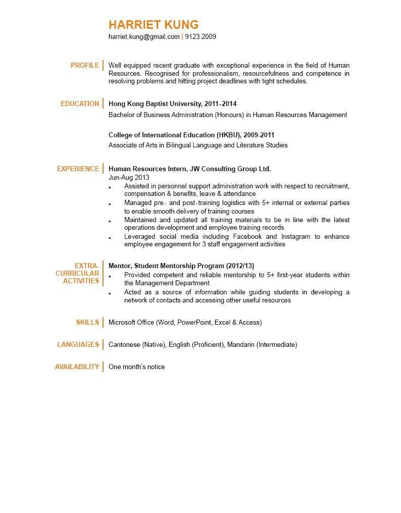 human resources graduate cv ctgoodjobs powered by career times human resources graduate cv