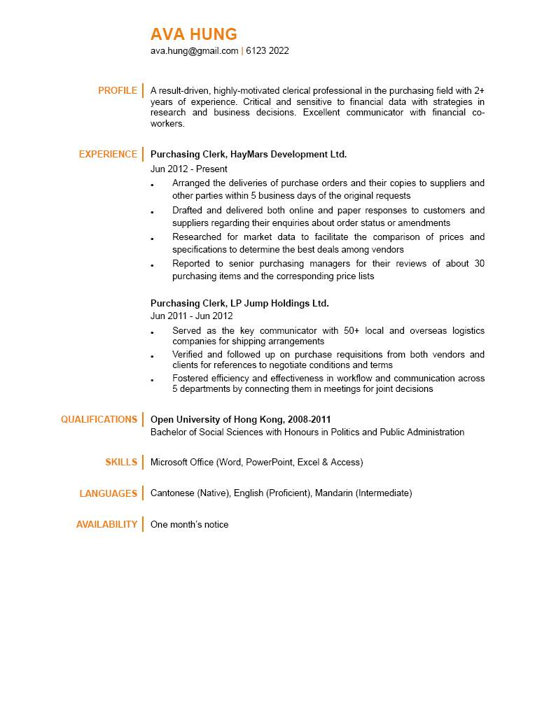Purchasing Clerk Cv Ctgoodjobs Powered By Career Times